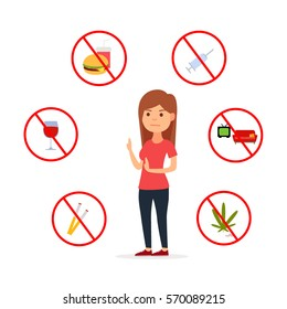 Girl vs bad habits. Illustration of bad habits. Stop bad habits and unhealthy way of life. Vector images in cartoon style