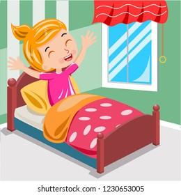 girl wake up morning on the bed vector