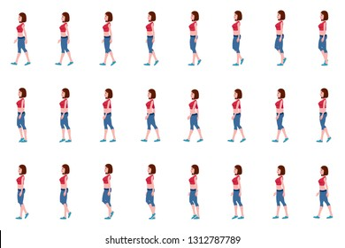 Girl walk cycle animation sprites, Loop animation.