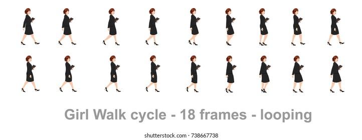 Girl walk cycle sprite sheet