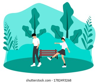A girl walking after her sad boyfriend (A couple) in a park