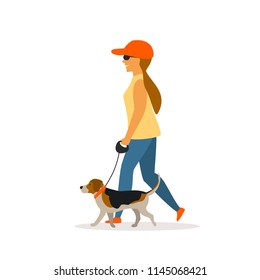 Girl walking with beagle  dog isolated vector graphic