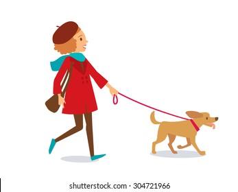 girl walking with dog
