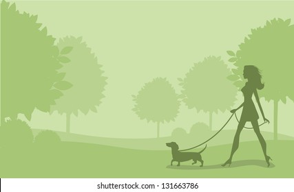 Girl Walking Dog. EPS 8 vector, grouped for easy editing. No open shapes or paths.