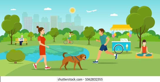Girl is walking with a dog. Grandfather sitting on the bench and reading newspaper Young man running  and girl riding a bicycle in the park. Vector flat illustration