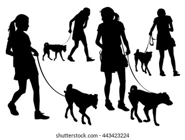 Girl walking with a dog on a leash. Silhouette on a white background.