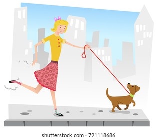 Girl walking dog on sidewalk, city silhouette in background (flat color illustration)
