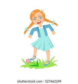 Girl Walking On Lawn Grass Breaking Flowers Teenage Bully Demonstrating Mischievous Uncontrollable Delinquent Behavior Cartoon Illustration