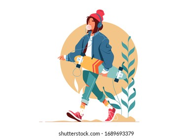 Girl walking outside and listening to music vector illustration. Young woman in casual clothes holding skateboard and going down street flat style concept