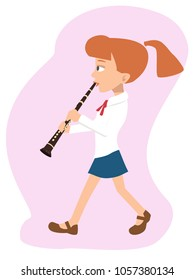 girl walking and playing clarinet, vector cartoon illustration in flat style
