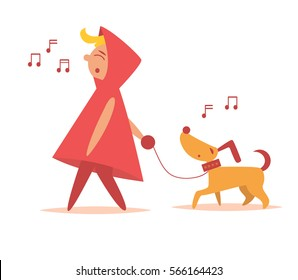Girl walks with dog. Vector illustration. Cartoon character. Art on a white background.