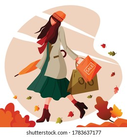 Girl walks holding shopping bags and closed umbrella in autumn windy weather. Great for poster, banner, flyer for Autumn Sale Discount advertisement or promotion.