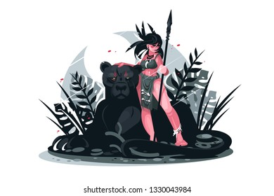 Girl warrior with spear vector illustration. Young woman holding lance in hand and standing near black panther in jungle flat style concept. Isolated on white background