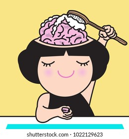 Girl Washing And Cleaning Her Own Brain. Concept Of Brainwashing, Clear Your Mind Card Character illustration
