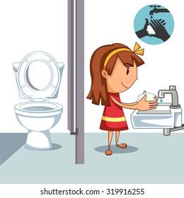 Girl washing hands, after bathroom, vector illustration