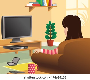 Girl watching tv in living room.