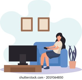 Girl Watching Tv Show At Late Night Concept, Woman Holding remote while sitting on sofa in cozy apartment Vector Icon Design, Weekly holidays Activity Symbol, Week Rest Days Sign, Lazy weekend people