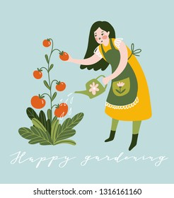 Girl watering plant with watering can. Young Woman Working in Garden or Farm. Vector Illustration with lettering - 'Happy gardening'
