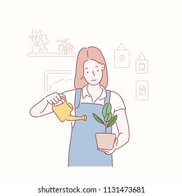 A girl watering plants. hand drawn style vector design illustrations.