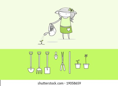 Girl watering a small seedling with a watering can