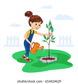 Girl watering a tree from the watering can. Planting a young tree. Children's Vector illustration.