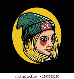 Girl wearing beanie hat illustration. Trendy blonde girl design for tshirt, Sticker, Flyer, Poster, or Banner