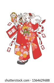 A girl wearing a flashy kimono.