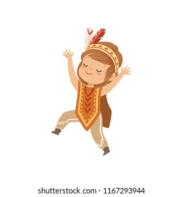 Girl wearing native Indian costume and headdress, kid playing in American Indian vector Illustration on a white background