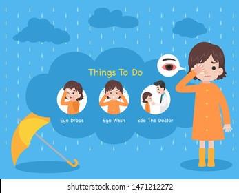 girl wearing orange raincoat have a conjunctivitis red eyes with yellow umbrella in the rain, Rain sick, Rain drop, Medical Health care concept Things to do, sick, cloud blue background, Cartoon.