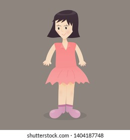 A girl wearing a pink shirt smiling happily on a brown background - Concepts for illustration design
