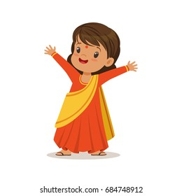 Girl wearing sari dress national costume of India colorful character vector Illustration
