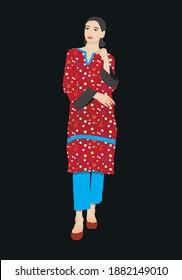 Girl wearing traditional Pakistani dress shalwar kameez
