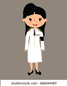 The girl wears white uniform of Thai government officials clothes mourn.