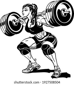 girl with a weight barbell on the back