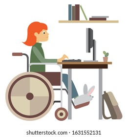 a girl in a wheelchair at a computer table is learning lessons. flat drawing, neutral colors, white background, simple geometric shapes. vector illustration. EPS 10.