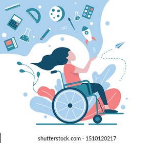 A girl in a wheelchair is studying at school. A symbol of inclusive school or inclusive distance learning. Flat vector illustration.