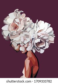 Girl with white flowers INSTEAD head abstract illustration