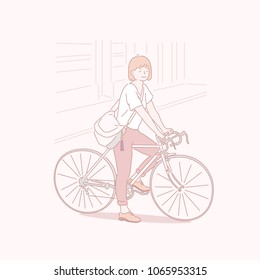 A girl who stopped on a bicycle for a while. hand drawn style vector doodle design illustrations.