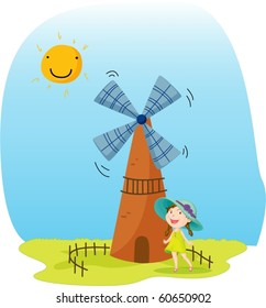 Girl and windmill