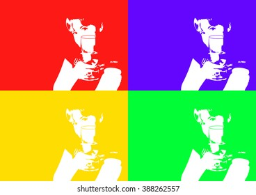 the girl with the wine glass in the style of pop art