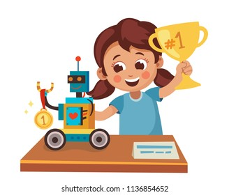 Girl wins competition on robotics. Child and her robot get  award. Cartoon vector illustration