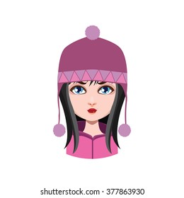 Girl with winter hat - black hair color