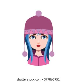 Girl with winter hat - blue hair color