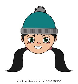 Girl with winter hat design