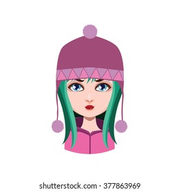 Girl with winter hat - green hair color