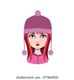 Girl with winter hat - red hair color