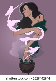 Girl witch brew a potion in cauldron