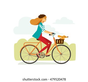 Girl woman man rides bike bicycle with dog. Escape from the city. Bike ride.