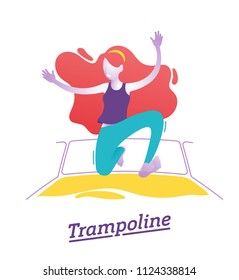 Girl, woman is playing on trampoline in a fun park Happy young girl jumping, wearing socks. Vector illustration