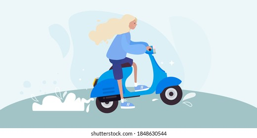 Girl, woman riding a bike, scooter. Blue background. Vector illustration